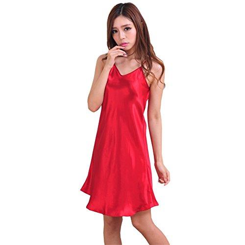 Moresave - Chemise de nuit - Femme rouge vin