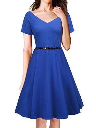 LUOUSE Rétro Vintage années 50 s Style Audrey Hepburn Rockabilly Swing, Robe de Bal à Manches Courtes avec Ceinture A026-Bleu
