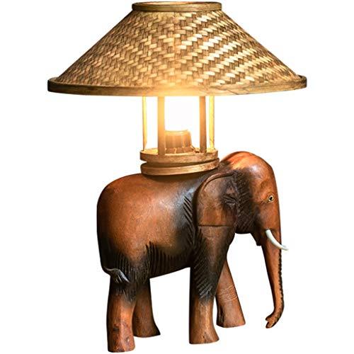 Lámpara de Mesa Lámpara de Mesa Decorativa de Madera del Estilo del sudeste asiático Dormitorio de cabecera Estilo tailandés Personalidad Creativa Lámpara de Mesa de Elefante Retro Aho