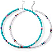 SUNNYOUTH 2 Pcs Heishi Surfer Choker Necklace Boho Jewelry Colorful African Vinyl Disc Beads Necklaces for Wom