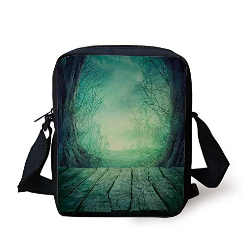 ZKHTO Gothic,Spooky Scary Dark Fog Forest with Dead Trees and Wooden Table Halloween Horror Theme Print,Blue Print Kids Crossbody Messenger Bag Purse