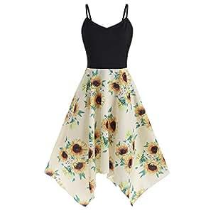 Wellwits Womens 3 4 Sleeve Waist Tie Sunflower Print Vintage Swing Tea Dress
