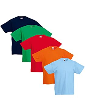5 camisetas infantiles Fruit of the Loom de algodón 100%