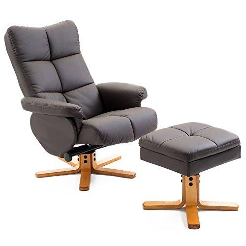 Homcom poltrona sedia relax reclinabile con poggiapiedi in ecopelle marrone