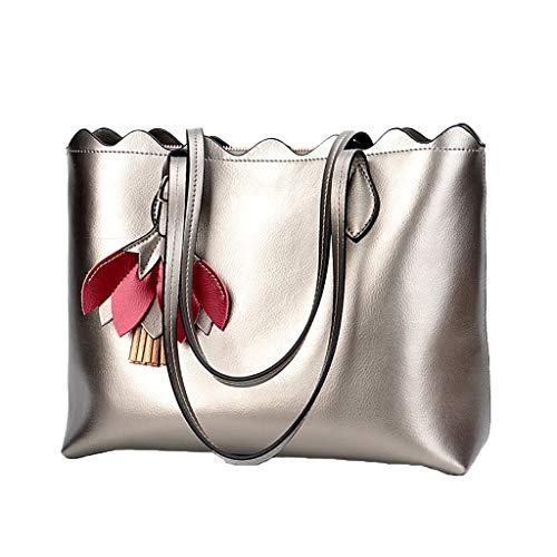 Mode-Handtasche - Leder Schultertasche Damen Tasche , Tote Bag (Farbe : Silber, größe : 34cm*14cm*26cm) -