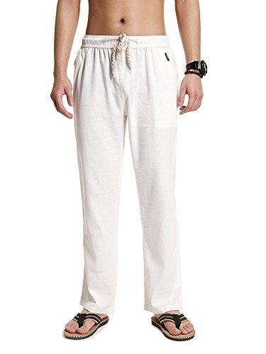 SOIXANTE Homme Pantalon en Mélange Coton Lin Coupe Large Décontracté Léger Confortable Respirant, Blanc, X-Small(Asiatique M):tour de taille: 72-80CM