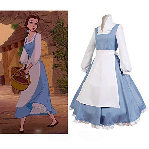 GGOODD Animationsfilm Die Schöne Und Das Biest Belle Cosplay Costume Lolita Dienstmädchen Halloween Karneval Party Blau Rock Mit (Belle Blau Kleid Kostüm Für Erwachsene)