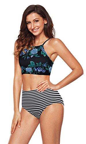 Angerella Damen Retro Stripe Bikini Bottom Floral Crop Top Banded Bademode Violett - Retro Floral Bikini