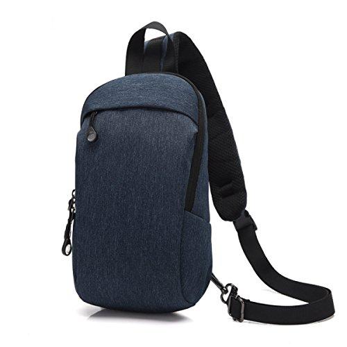 BULAGE Pack Brustbeutel Männer Mode Einfach Lässig Schulter Outdoor Einkaufen Leicht Rucksack Ausgehen Urlaub Tragen Blue