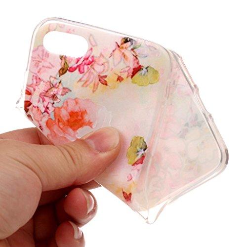 Custodia iPhone 7 Plus ,JIENI Trasparente Cover Moda Colorato pizzo albero foglia Flessibile TPU Silicone Bumper Case per Apple iPhone 7 Plus HX45