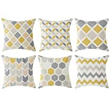 Top Finel Cushion Covers Set Multi Geometric Pattern Square Throw Pillow Case for Sofa Bedroom Car 18 x 18 Inch,6PCS