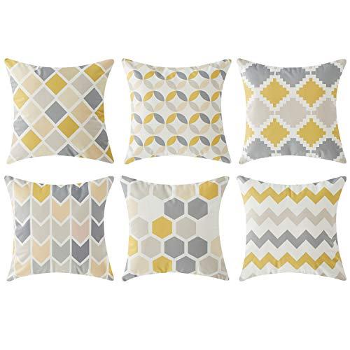 Top Finel 6 Pcs Housses de Coussin Géométrique Taies d'oreiller Doux pour Canapé Maison Voiture 45 x 45 cm Jaune