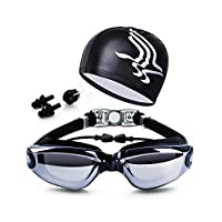5 in 1 Swimming Goggles glasses Swim Cap Nose Clip Ear Plugs Case Black