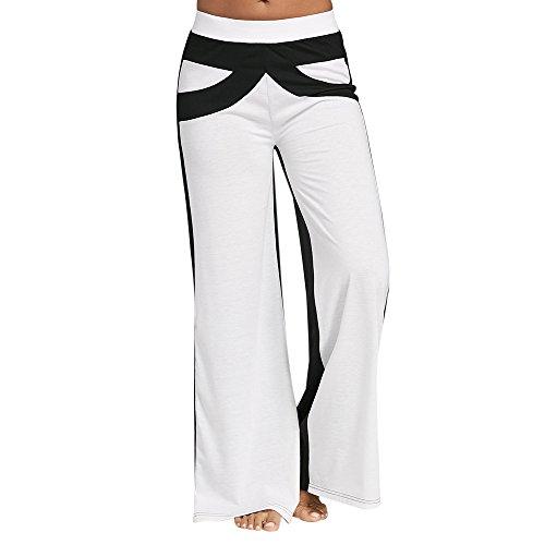 Pantaloni Larghi Donna Elegante Cuciture in Bianco e Nero Pantalone a Vita Alta Sportivo Woman Pants Casuale Elasticità Bianco e nero