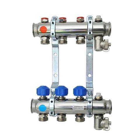 Acier inoxydable 2 ports chauffage par le sol collecteur avec vannes