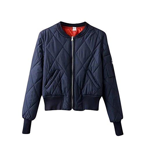 Damen Rib Kragen Jacke mit Reissverschluss Stylische Mantel Marine