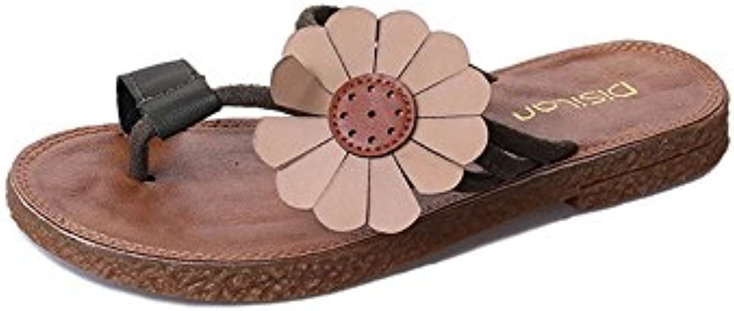 Fangyou1314 Non Slip Beach Wear Flat Bottomed Flip Flops Simple D Island Shoes Casual Zappato England Suede Dark Brown Color Black Size 55 Uk A4447e