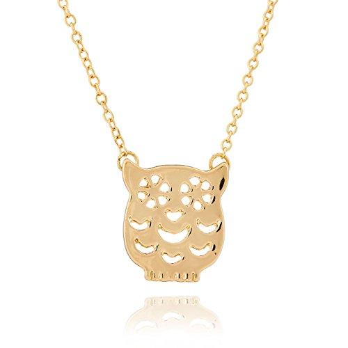 Selia Eulen Halskette Uhu Vogel Kette Glück minimalistisch Trend handgemacht (Gold) - Eule Origami Kette Gold