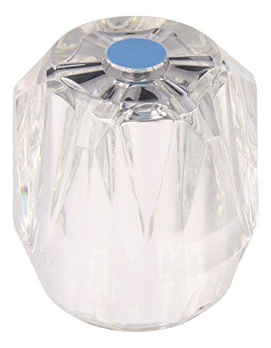 Kristall-Griff verspiegelt zu Sanitär-Oberteil 1/2 Zoll | Armaturen Griff | Markierung Blau | Große Ausführung mit Rastbuchse
