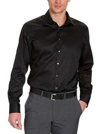 Jacques Britt Herren Businesshemd Regular Fit 20.969311 Ben, Gr. 38 (38/S), Schwarz (39 - Uni schwarz)