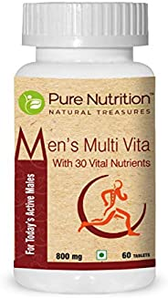 Pure Nutrition Men's Multi Vita, Fortified with 30 Bioactive Vital Nutrients with Ginseng Extracts, Omega 3 an