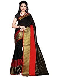 Kanchnar Cotton Silk Saree (258S58_Black,Red)