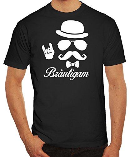 Junggesellenabschied JGA Herren Männer T-Shirt Rundhals Sunglasses Bräutigam Kombi, Größe: 3XL,Schwarz