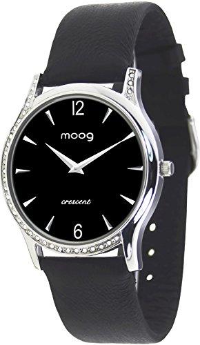 Moog Paris Crescent Damen Uhr mit Schwarzem Zifferblatt, Swarovski Elements & Schwarzem Armband aus Aal Haut - M44392-203 (Schwarz Aal Haut)