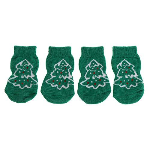 Kostüm Bowl Fish - Lyguy Haustier-Socken, 4 Stück/Set Haustiersocken Weihnachten, Warmer Schutz, für Hunde und Katzen, rutschfest, gestrickt, weich, atmungsaktiv, für den Innenbereich - S - 4#