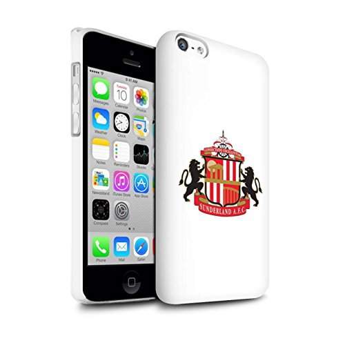 Offiziell Sunderland AFC Hülle / Glanz Snap-On Case für Apple iPhone 5C / Pack 6pcs Muster / SAFC Fußball Crest Kollektion Weiß