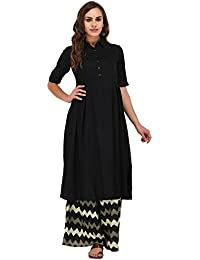 Pistaa Black Solid Frock Kurta With Plus Size