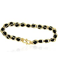 Vook Stylish Gold Plated Black Bead Chain Bracelet For Men & Women
