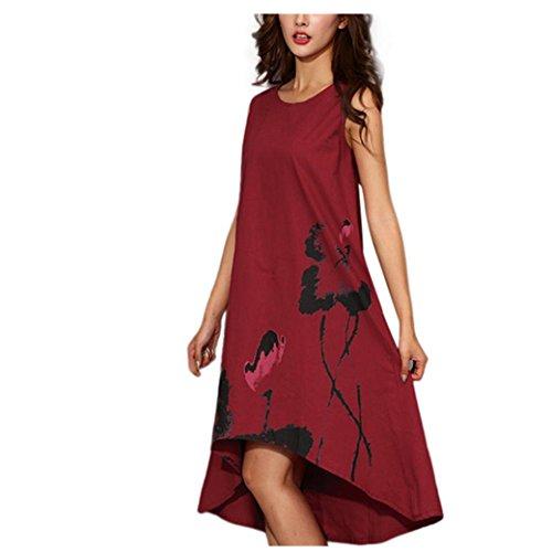 Kleid Damen, Bekleidung Longra Frauen Ärmelloses Sommerkleider Boho Baumwolle und Leinen Tinten-Printing Loose Großes Kleid (L, Red) (Tinte Shop)