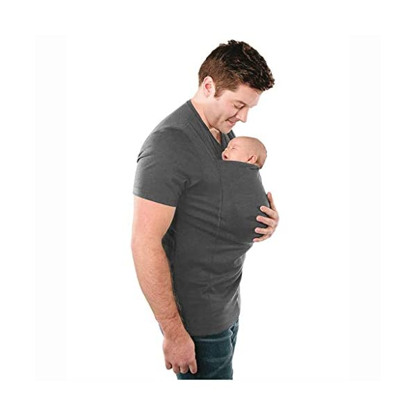 Pavilion Kangaroo Dad Men's T-shirt Short-Sleeved Stretchy Infant Sling Baby Carrier Shirt 2 in 1 Big Pocket (Size : L) Pavilion ✔Mom can easily comfort your newborn as the secure yet expandable pouch creating an intimate swaddle right. ✔Made of soft polyester, comfortable for wearing but sturdy enough to carry a new born baby. Soft and sturdy. ✔ the baby carrier shirt can become part of your everyday wardrobe by assisting you with the easy-to-use nursing bra. 2