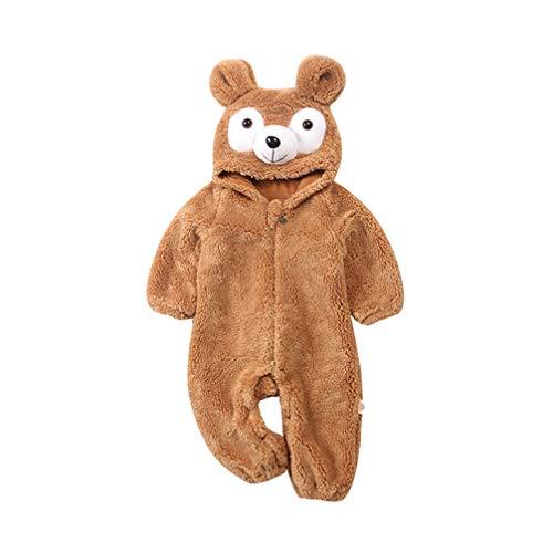 JEELINBORE Unisex Baby Kleinkind Strampler Tiere Kostüme Cosplay Playsuit Weich Niedlich Spielanzug Overall Jumpsuit mit Kapuze (#1 Bär, 59CM)