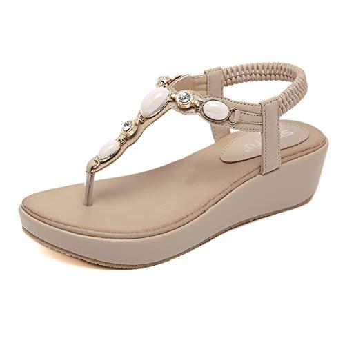 Boho Platform Wedge Sandals Mid Heel Ankle Strap Shoes for Women Beige 39EU -