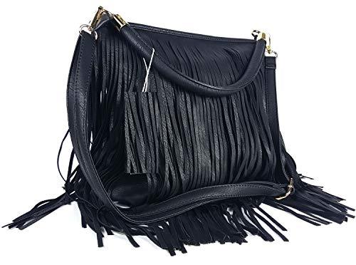 GFM® Kunstleder-Tasche mit weichen Fransen auf beiden Seiten, Schultertasche (Style 3 - F1618-KL-00) -