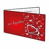 Herzen Einladungskarten Hochzeit in bordeaux rot Herz Einladung Klappkarte - 10 Stück