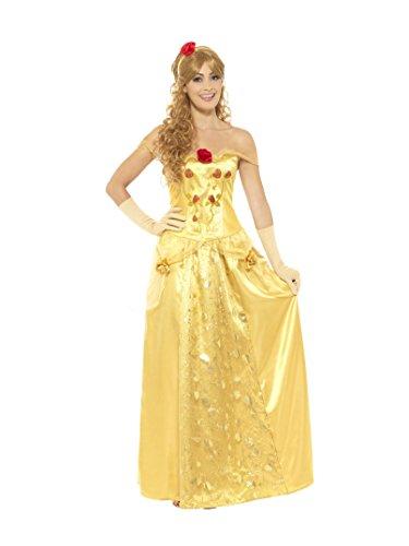 Smiffys Damen Goldene Prinzessin Kostüm, Langes Kleid, Handschuhe und Haarband, Größe: 36-38, - Lange Kleid Goldene