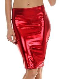 Fast Fashion Frauen Hoch Taille Nasses Aussehen PVC Leder Glänzend Metallisch Flüssigkeit Bleistift Midi Rock