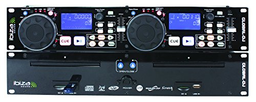 Ibiza 15-2210 Dual CD-MP3/USB/SD Card Player mit Scratch schwarz