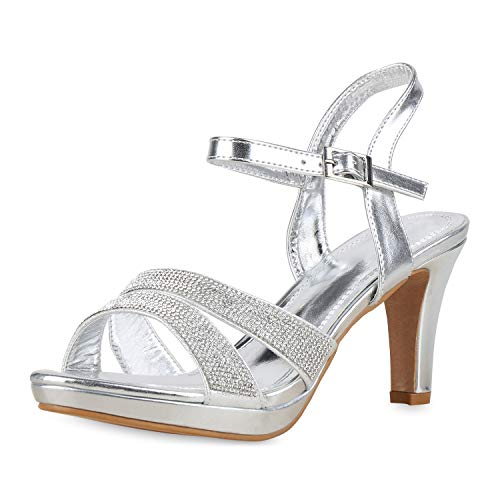 SCARPE VITA Damen Pumps Riemchensandaletten Strass Party Sandaletten Elegante Schuhe Metallic High Heels Plateau 175205 Silber Metallic 38