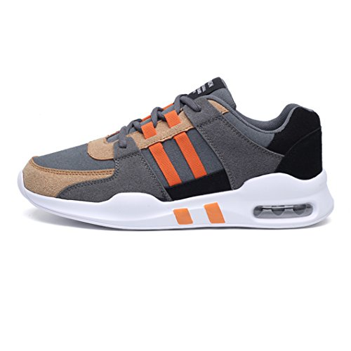 Men's Running Sneakers Lightweight Athletic Air Cushion Men's Trainers Lace-up Gym Flock Casual Sport Shoes for Men (8 UK, Orange)