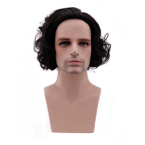 COSPLAZA Perücke Unisex Men Adult Short Curly Wavy Natural Anime Full Cosplay Wig Synthetic Halloween Hair Black Männer Köln-la-männlich
