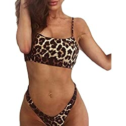 QUICKLYLY Bikini/Tankini Mujer 2018-2019 Push up brasileño Talla Grande Cintura Alta Sexy Conjunto Bañador,Sujetador Estampado Leopardo Mujer Bikini Playa Traje Baño(café,S)