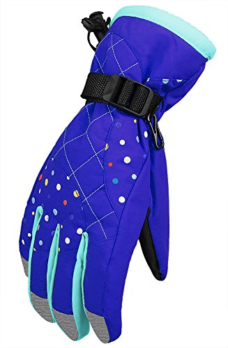 WATERFLY Winter Women Gloves Warm Water Resistant Snowmobile Snowboard Ski Athletic Gloves for Outdoor Cycling Biking (Blue)