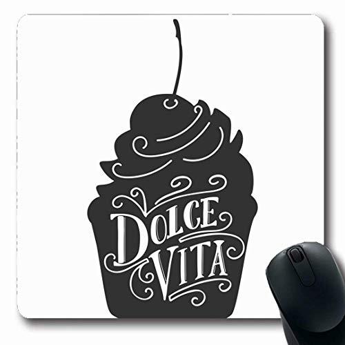 ebensmittel Typo Hand Schriftzug Dolce Vita Sweet Life Blackboard Getränk Alphabet Bäckerei Billboard Black rutschfeste Gaming Mouse Pad Gummi längliche Matte ()