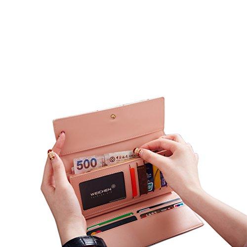 PU Piega Lunga Pelle moda donna Portafoglio borsa Ecopelle Wallet raccoglitore Pocket Portamonete Bianco