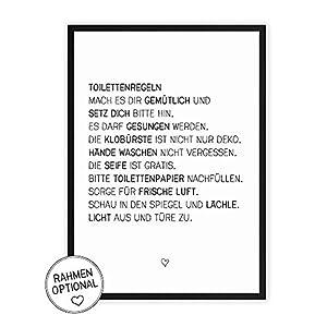 Toiletten-Regeln - Kunstdruck auf wunderbarem Hahnemühle Papier DIN A4 -ohne Rahmen- schwarz-weißes Bild Poster zur Deko im Büro/Wohnung/als Geschenk Mitbringsel. witzige WC Klo-Ordnung
