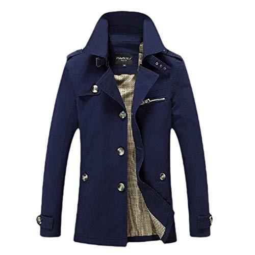 CuteRose Mens Skinny Jacket Oversized Business Classic Trench Coat Outwear Dark Blue S